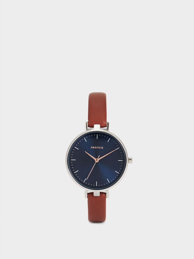 Watch With Contrasting Face, Brown, hi-res