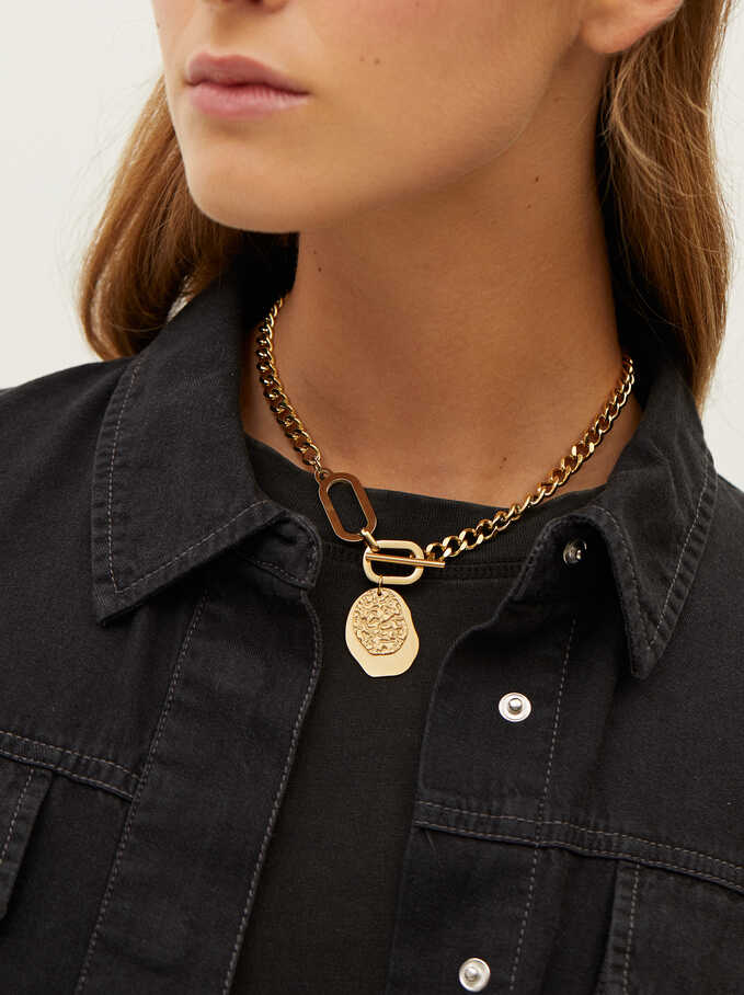 Golden Stainless Steel Chain Necklace, Golden, hi-res