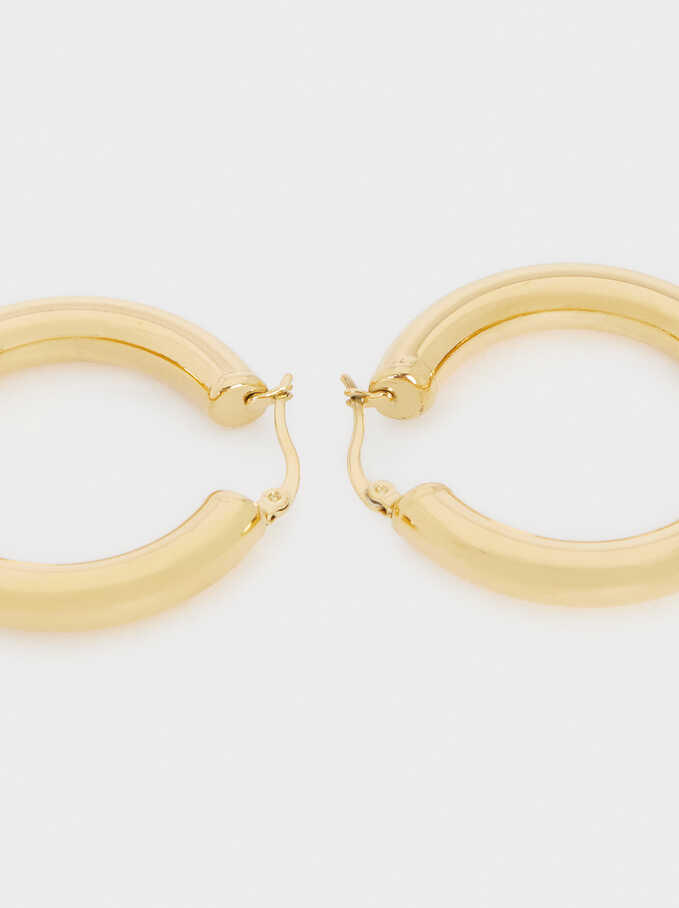 Golden Stainless Steel Hoop Earrings, Golden, hi-res