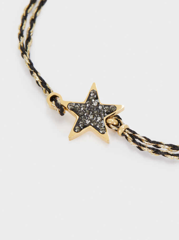 Adjustable Stainless Steel Bracelet With Gemstones, Black, hi-res