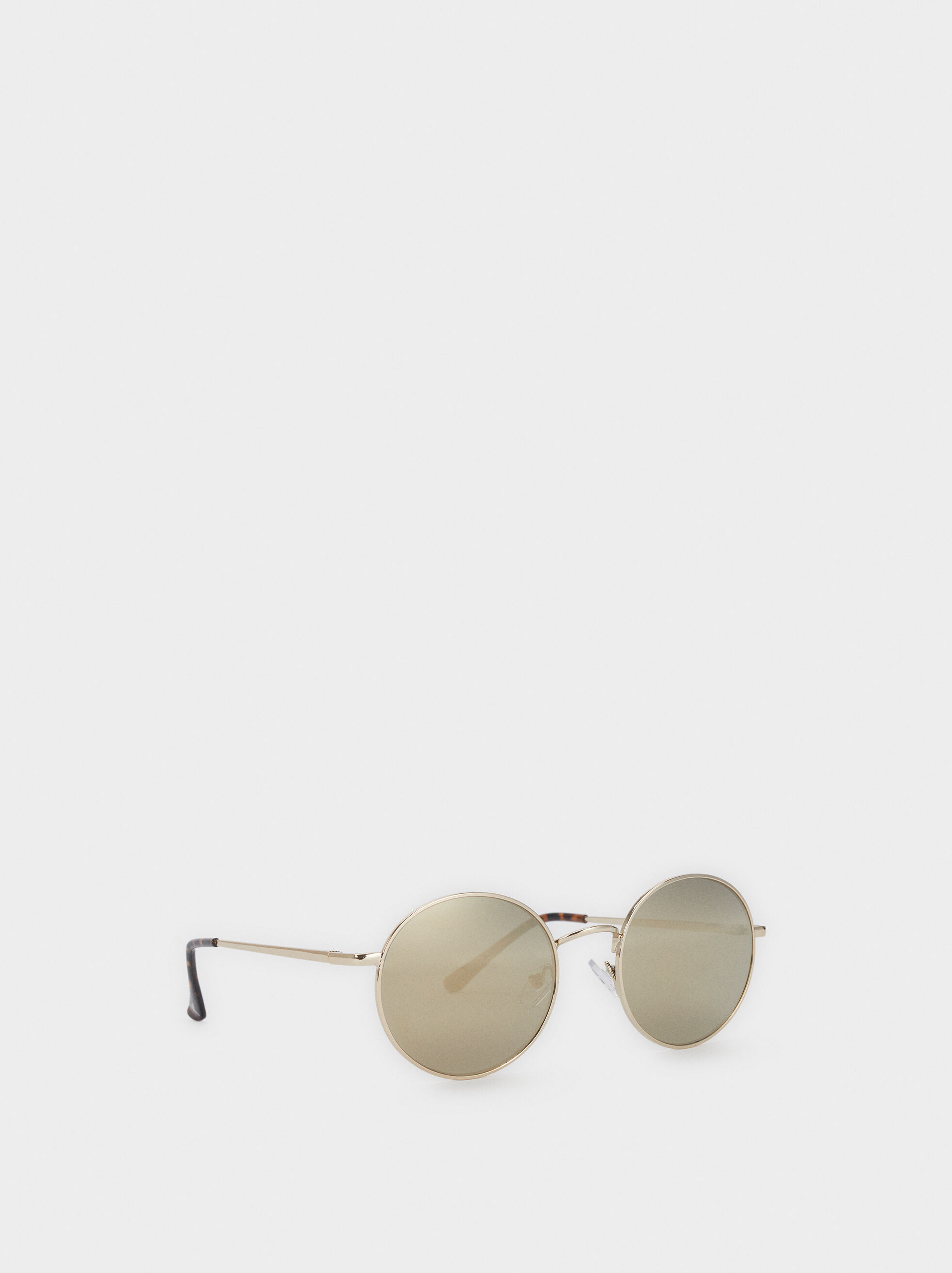 Round Metallic Sunglasses, Silver, hi-res