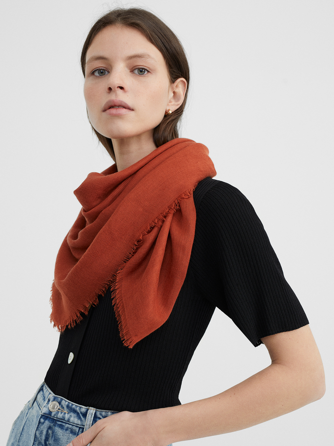 Plain Pashmina, Orange, hi-res