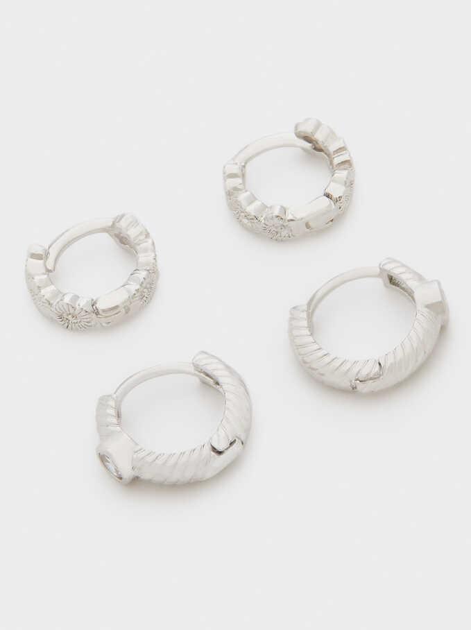 Set Of Hoop Earrings With Crystals, Silver, hi-res