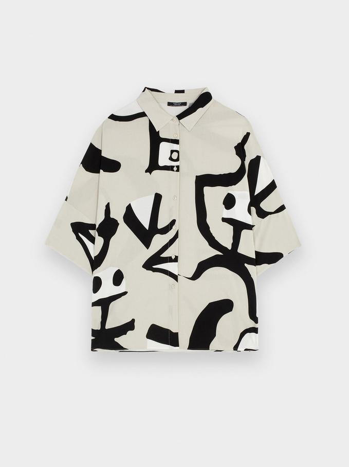 Printed Oversized Shirt, Beige, hi-res