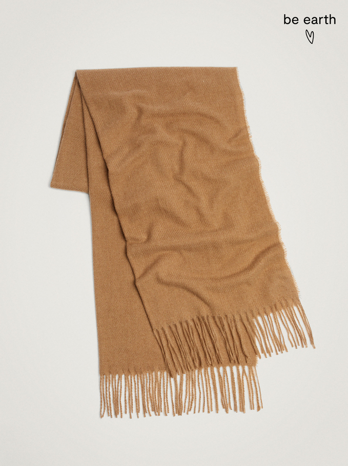 Blanket Scarf With Fringing, Beige, hi-res