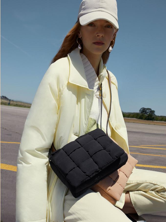 Nylon Crossbody Bag Made From Recycled Materials, Black, hi-res
