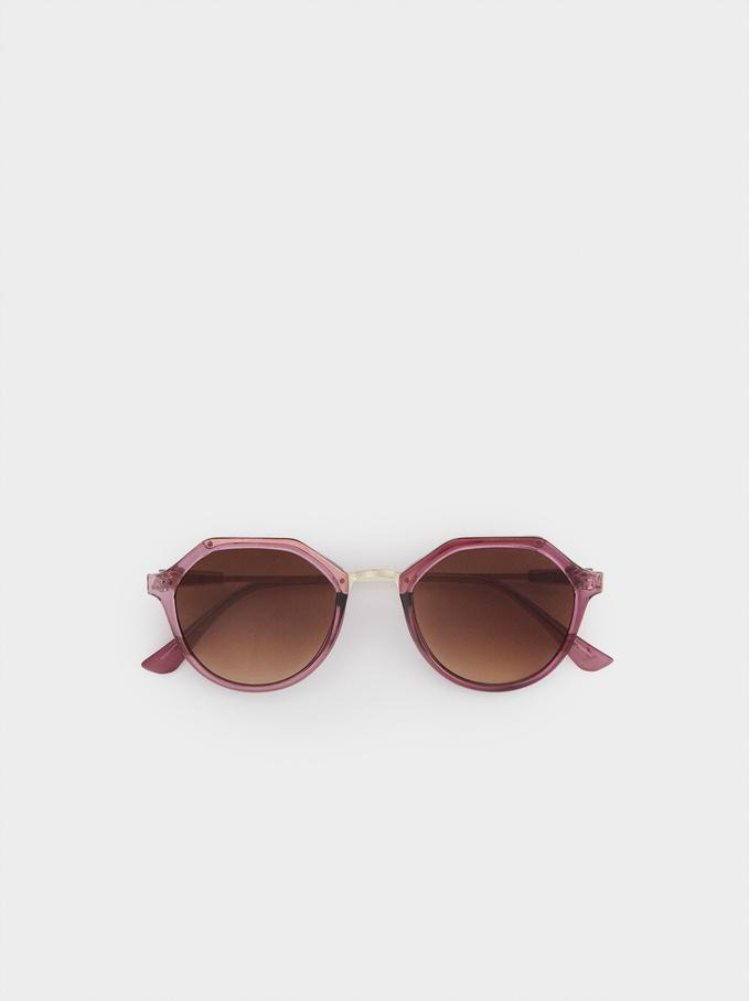 Okragle Okulary Przeciwsloneczne, Liliowy, hi-res