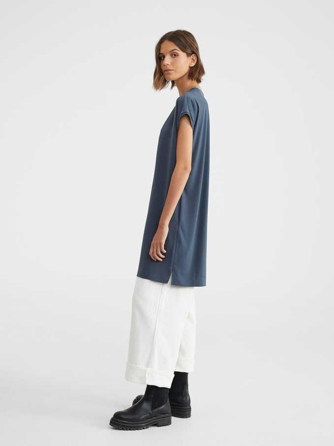 Oversize V-Neck Dress, Blue, hi-res
