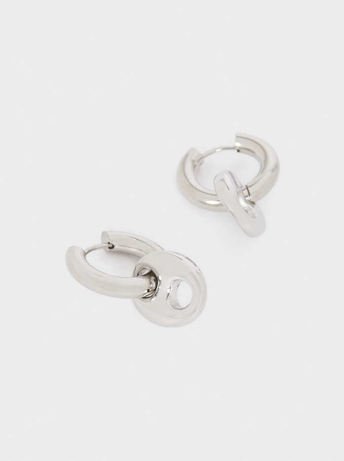 Stainless Steel Hoop Earrings With Pendants, Silver, hi-res