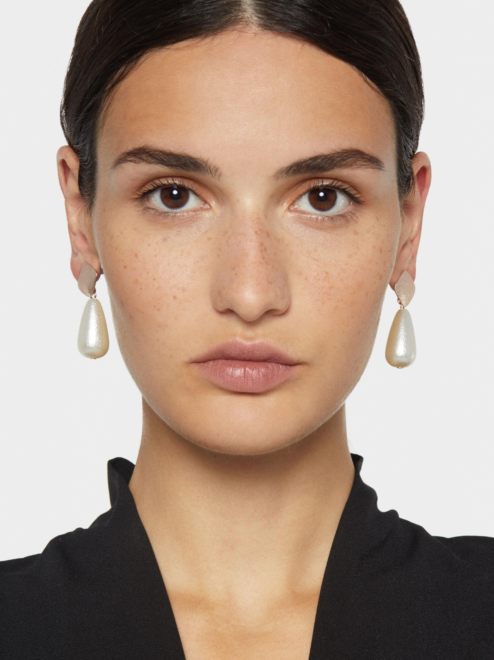 Pink Desert Two-Tone Long Earrings, Orange, hi-res