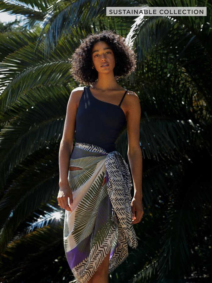 100% Organic Cotton Printed Scarf, Purple, hi-res
