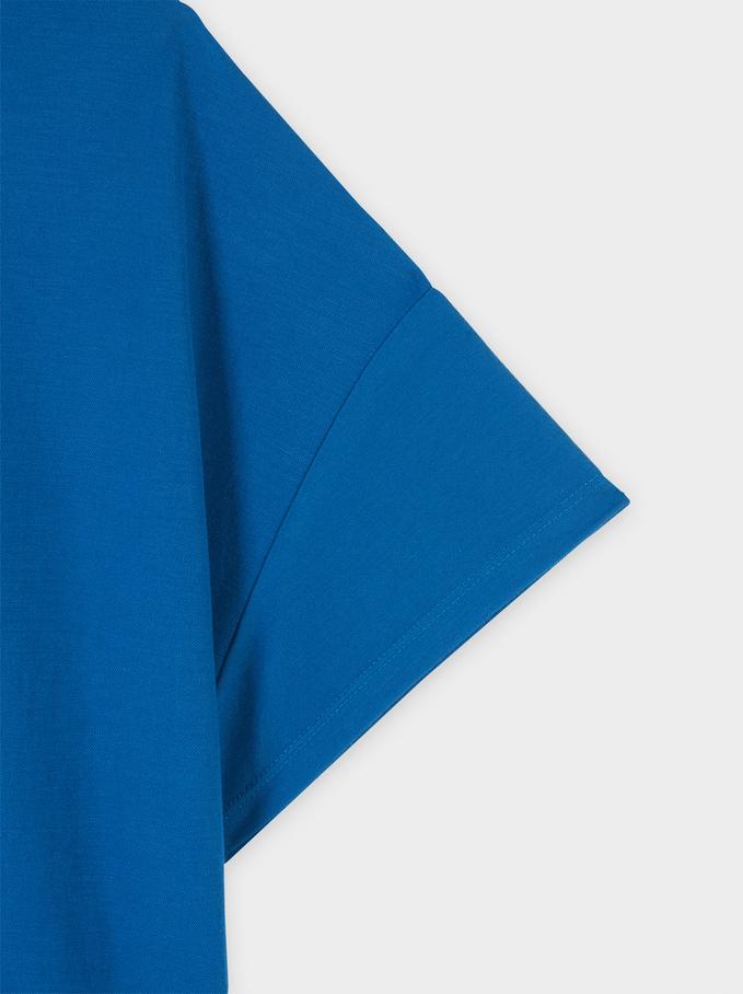 Round-Neck T-Shirt, Blue, hi-res
