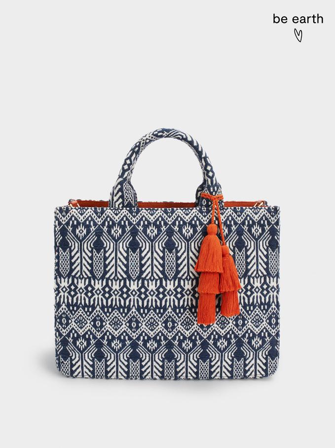 Jacquard Shopper Bag With Shoulder Strap, Navy, hi-res