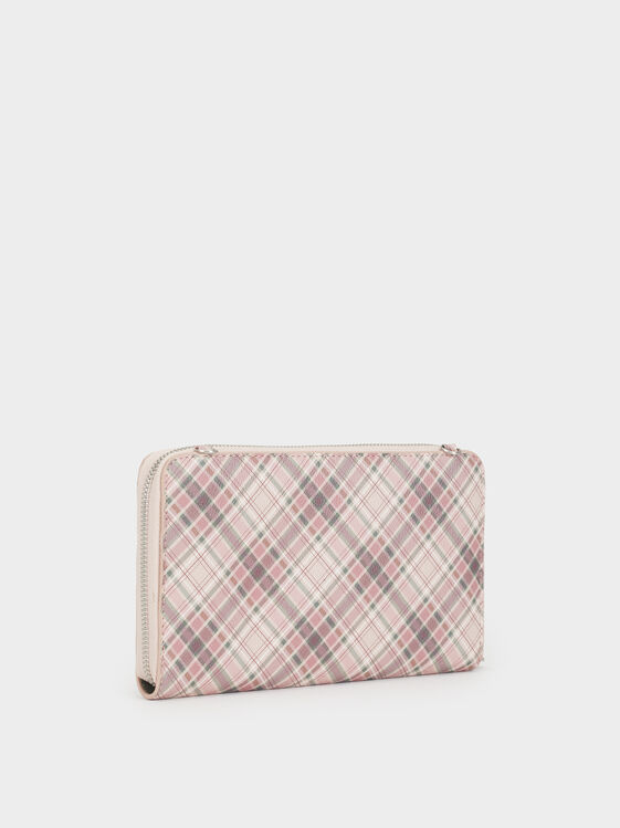 Large Check Print Purse, Pink, hi-res