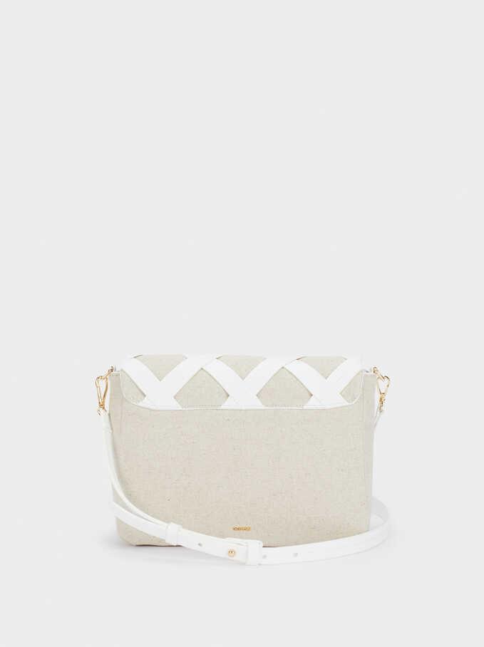 Handbag With Check Detail, Beige, hi-res