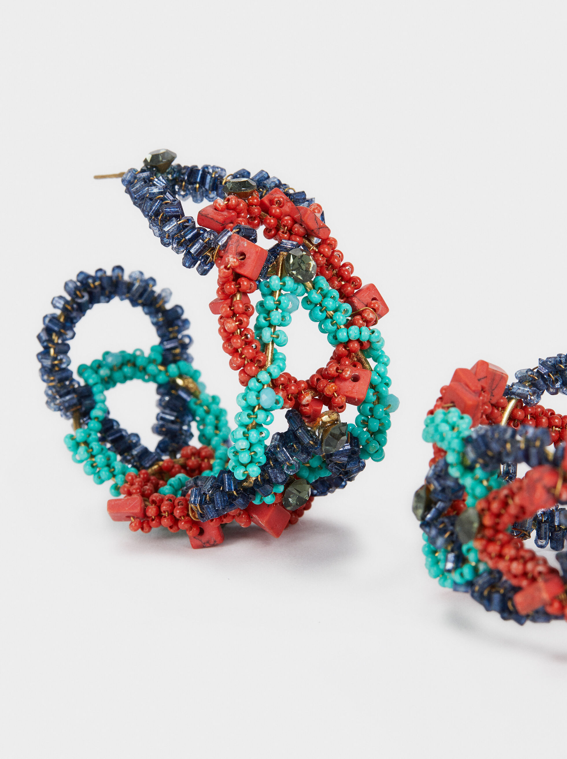 Recife Big Hoop Earrings With Beads, Multicolor, hi-res