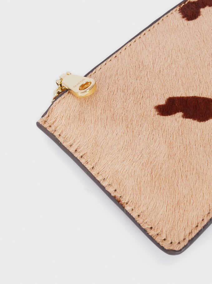 Textured Leather Coin Purse, Ecru, hi-res