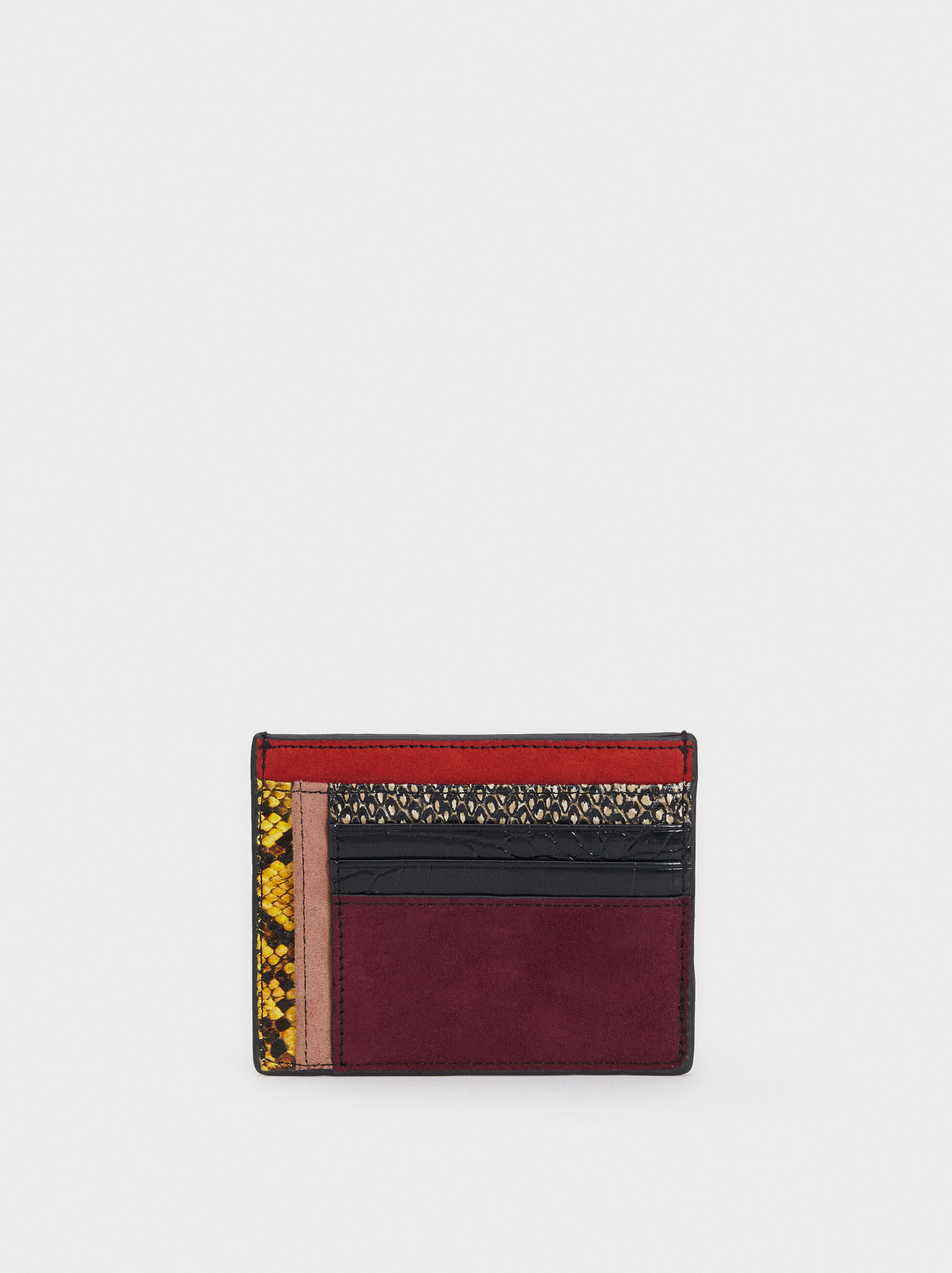 Patchwork Card Holder, Black, hi-res