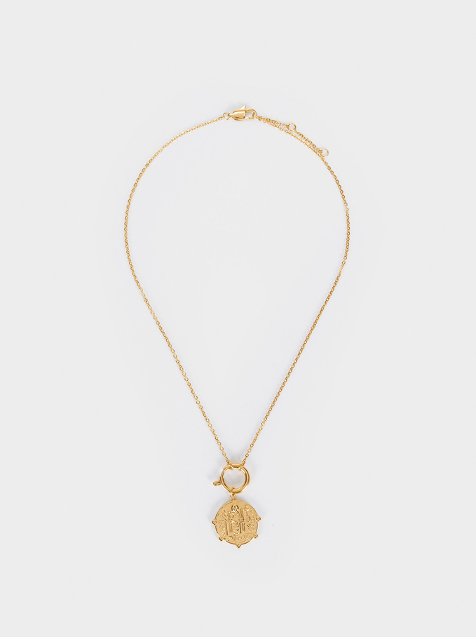 Steel Necklace With Pendant, Golden, hi-res