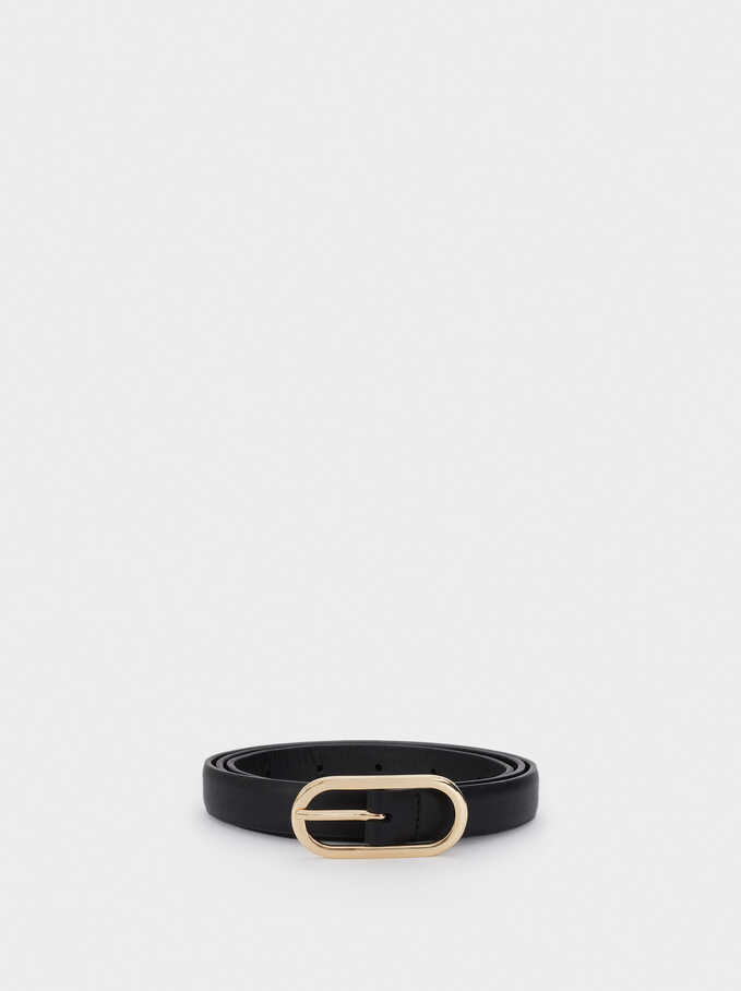 Narrow Belt With Silver-Plated Buckle, Black, hi-res