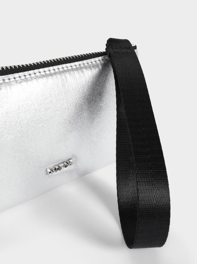 Multi-Purpose Nylon Purse With Hand Strap, Silver, hi-res
