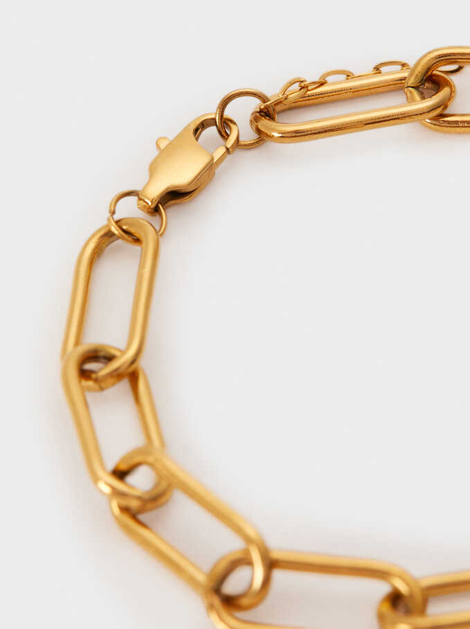 Stainless Steel Gold Link Bracelet, Golden, hi-res