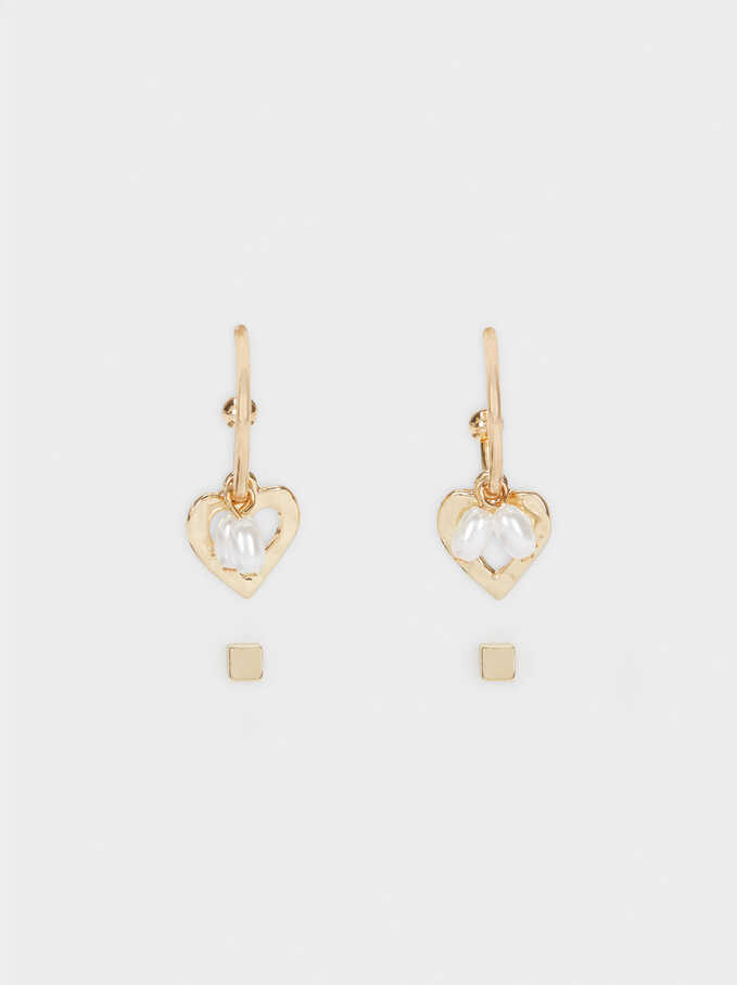 Set Of Gold Heart Hoop Earrings, Golden, hi-res
