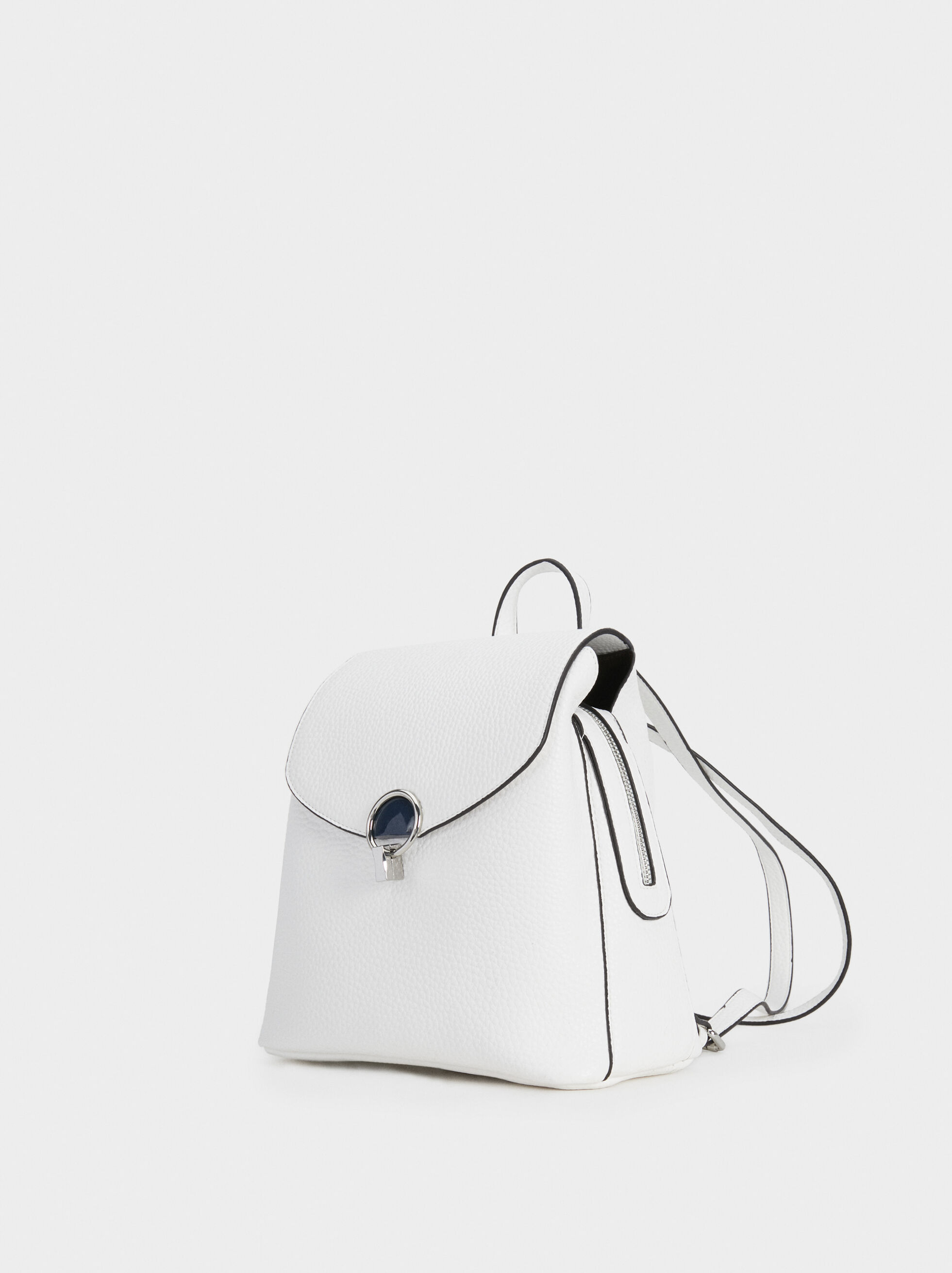 Plain Backpack With Flap, White, hi-res
