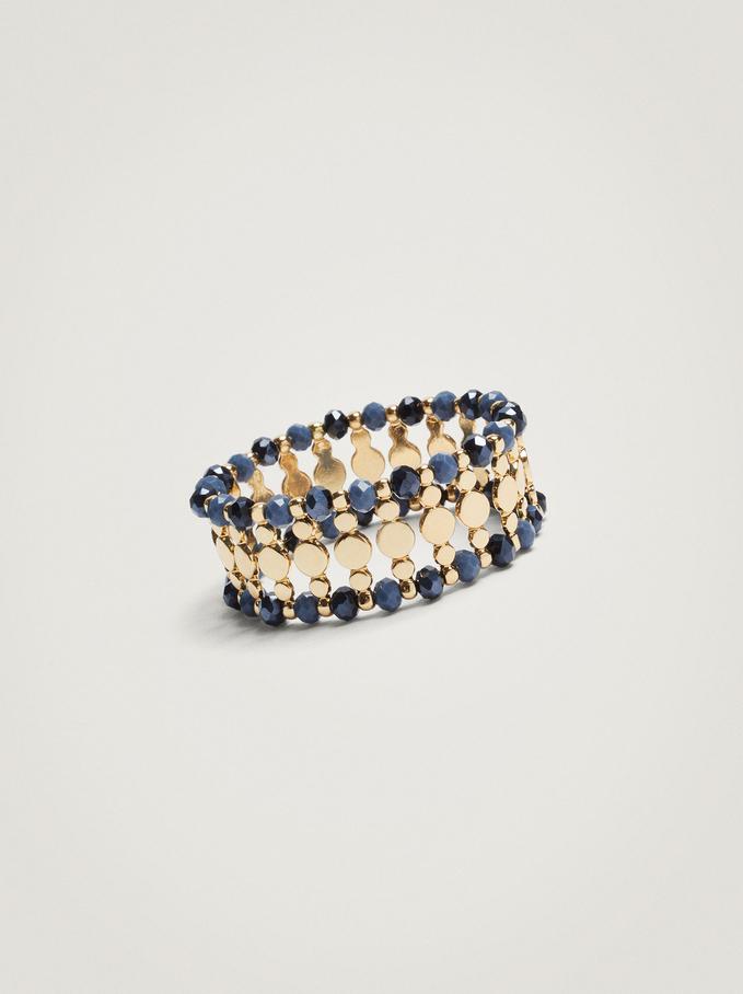Elasticated Bead Bracelet, Blue, hi-res