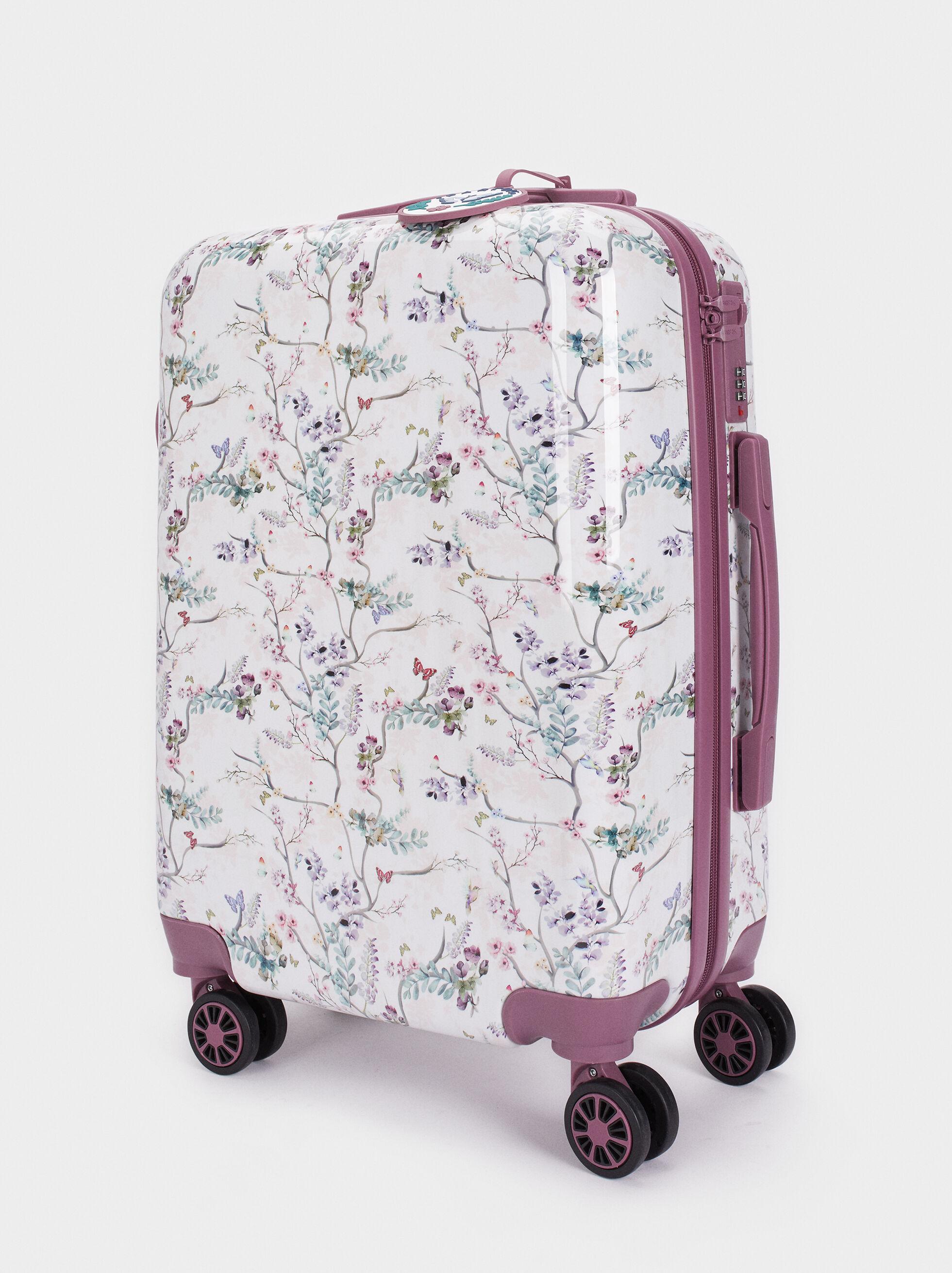 Floral Print Suitcase, Violet, hi-res