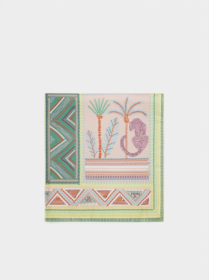 Printed Square Neckerchief, Green, hi-res