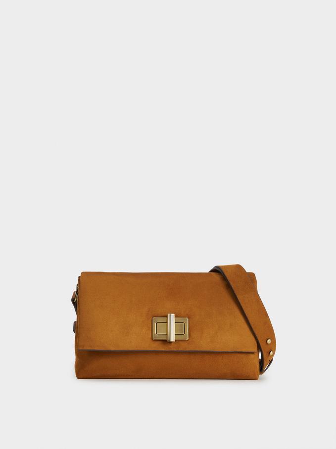 Suede Texture Crossbody Bag, Camel, hi-res