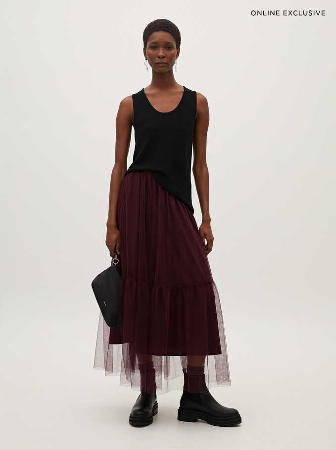 Pleated Skirt With An Elastic Waistband, Bordeaux, hi-res