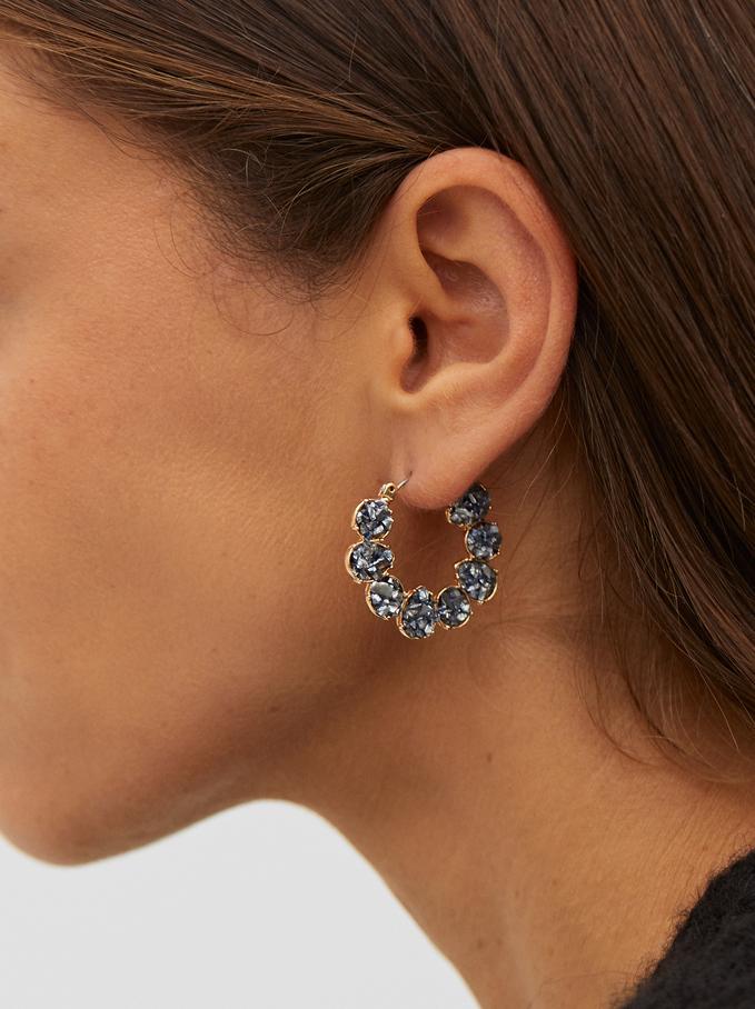 Small Crystal Hoop Earrings, Grey, hi-res