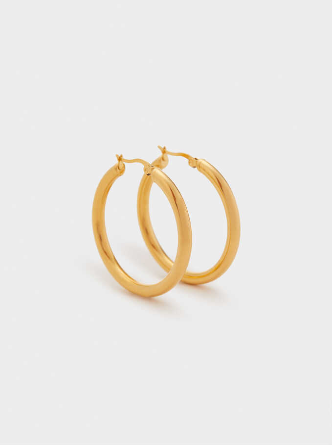 Medium Steel Hoop Earrings, Golden, hi-res