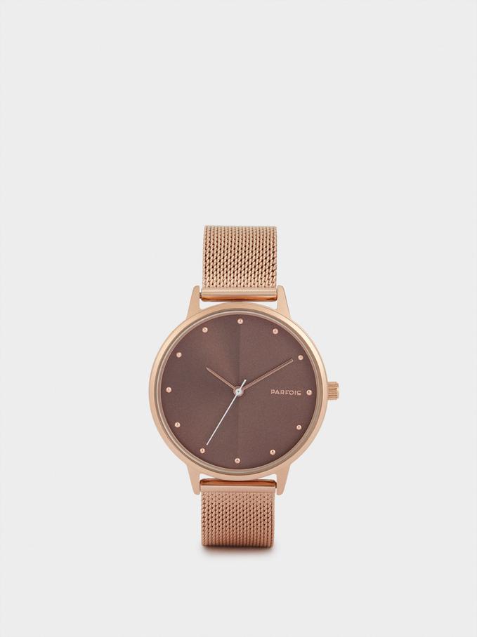 Zegarek Z Paskiem Z Metalowej Plecionki, Pomaranczowy, hi-res