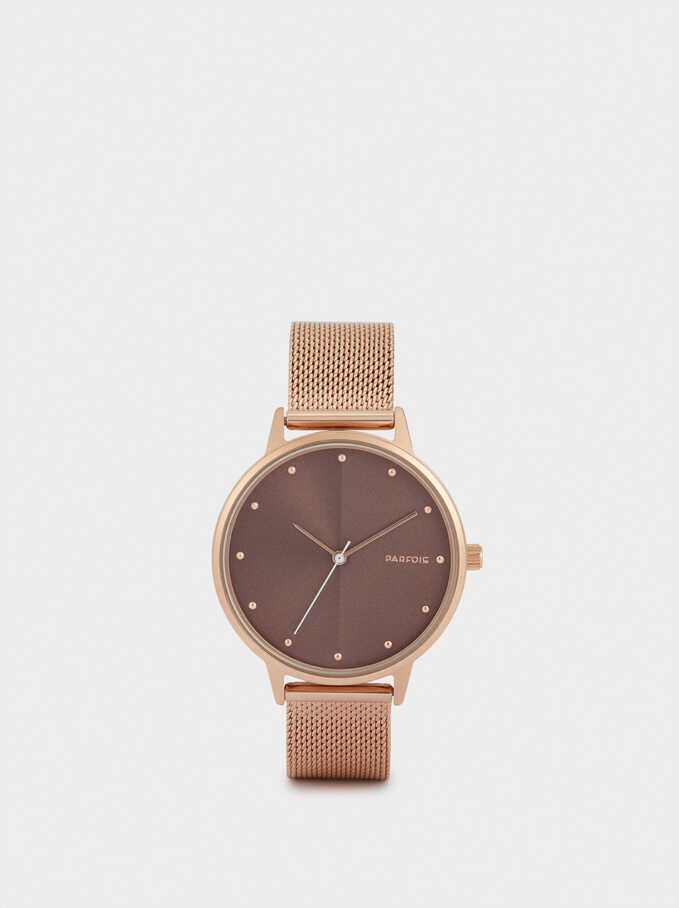 Watch With Metallic Mesh Strap, Orange, hi-res