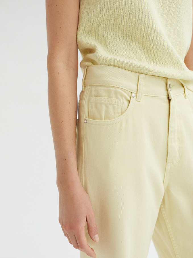 Limited Edition Straight High-Rise Trousers, Yellow, hi-res