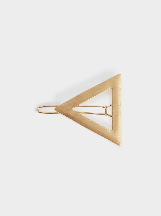 Pinza De Pelo Triangular, Dorado, hi-res