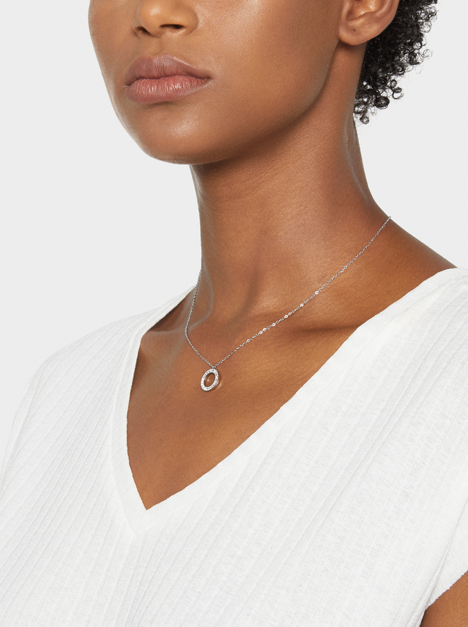 Stainless Steel Short Necklace, Silver, hi-res