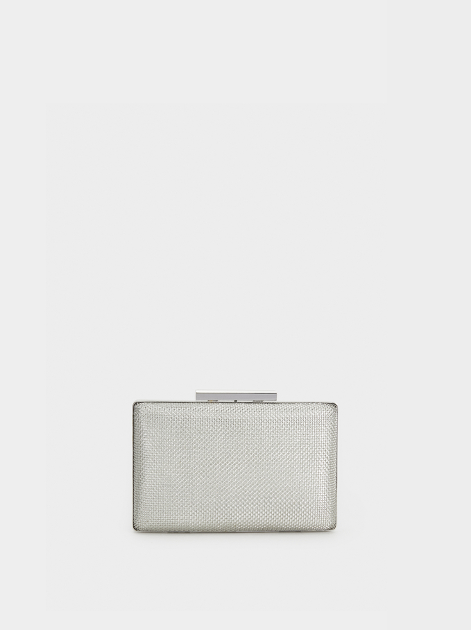 Party Clutch With Chain Strap, Silver, hi-res