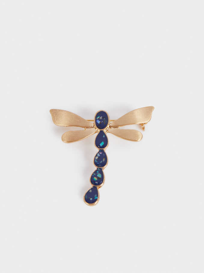 Dragonfly Brooch, Multicolor, hi-res