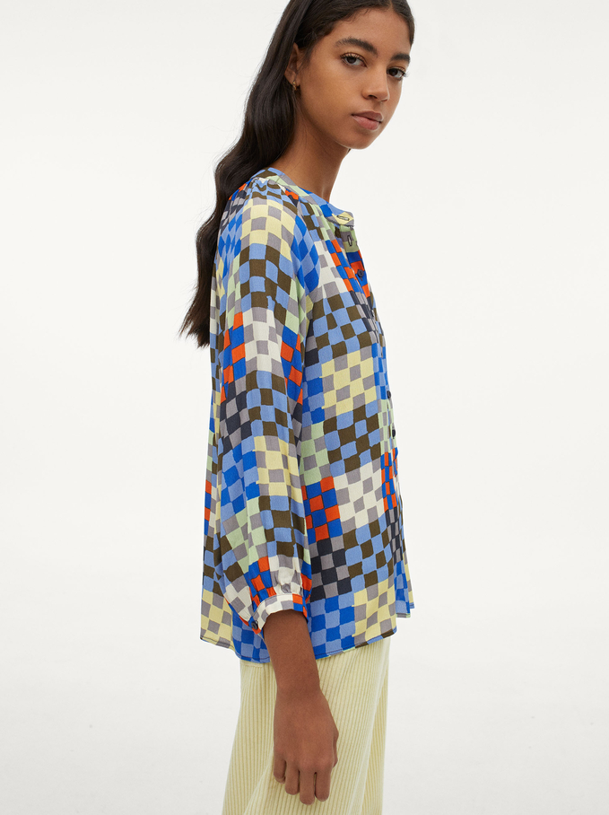 Camisa Fluida Con Estampado De Cuadros, Multicor, hi-res