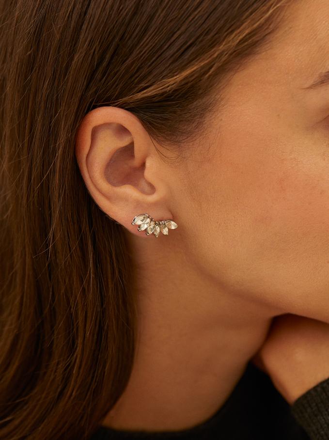 Boucles D'Oreilles Ear Cuff Faux-Diamants, Argent, hi-res