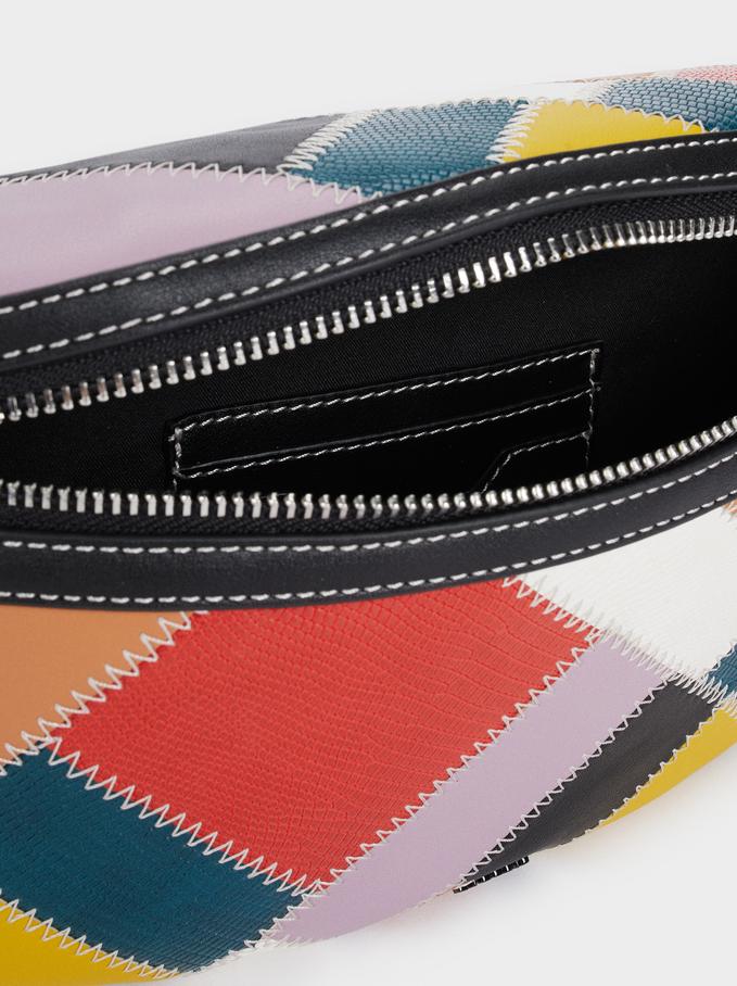 Belt Bag With Multicoloured Patchwork Design, Black, hi-res