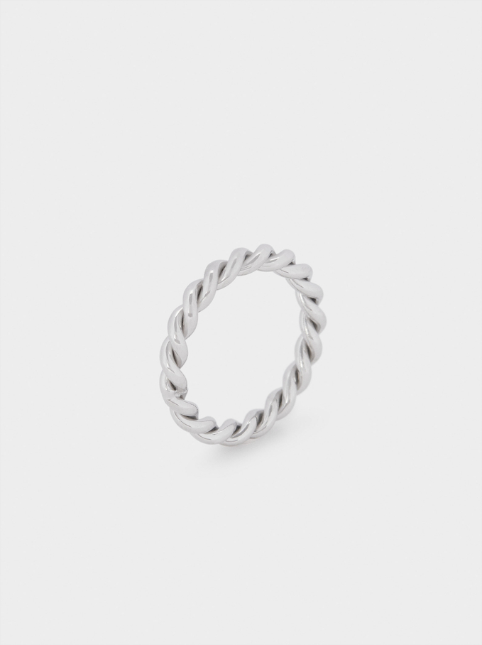 Steel Ring With Woven Detail, Silver, hi-res