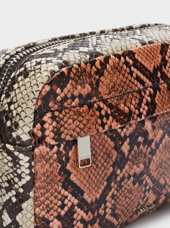 Embossed Faux Snakeskin Crossbody Bag, Pink, hi-res