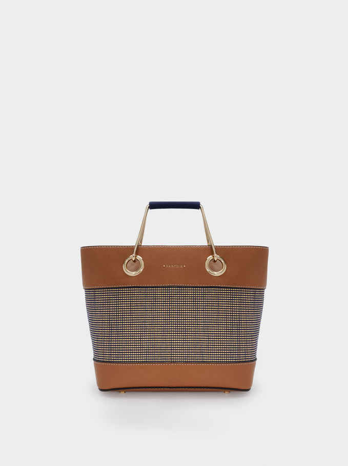 Textured Raffia Shopper Bag, Navy, hi-res