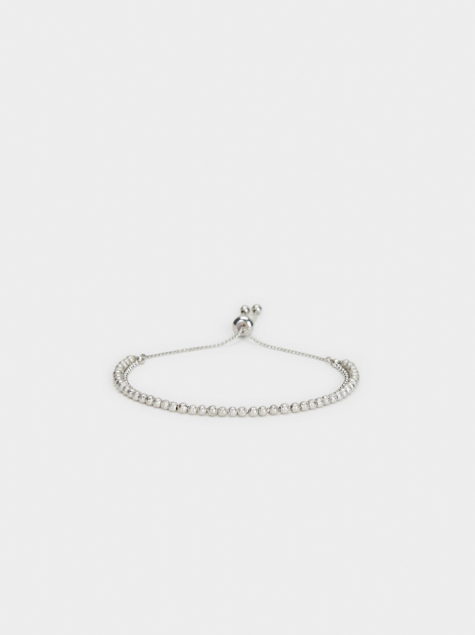 Elastic Faux Pearl Bracelet , Silver, hi-res