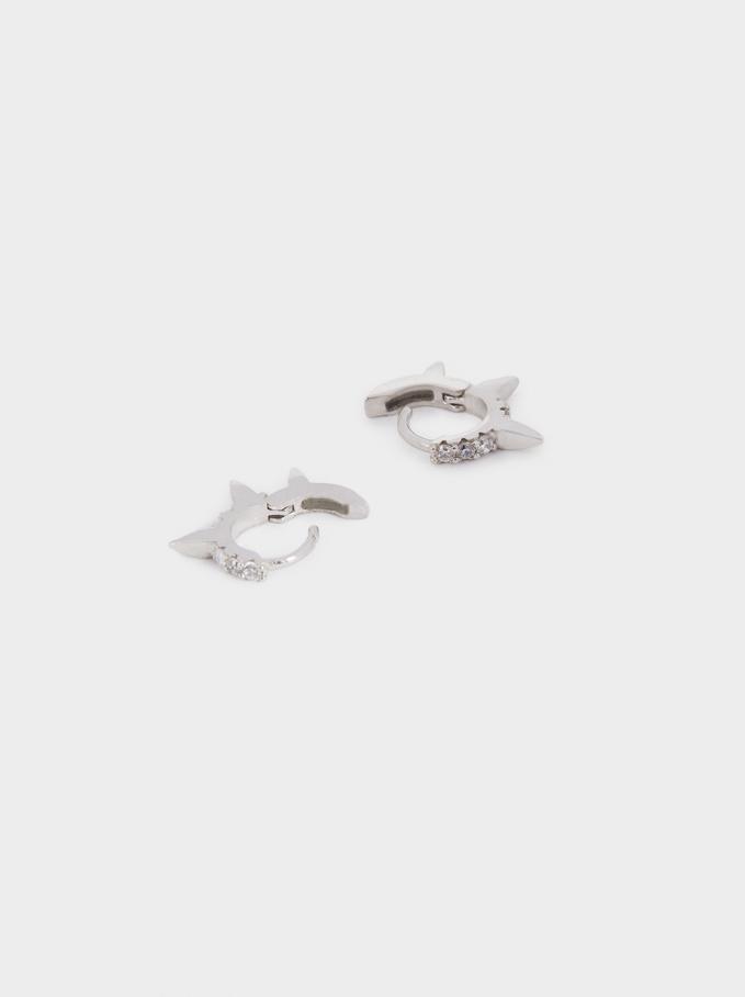 Short Horn Necklace, Silver, hi-res